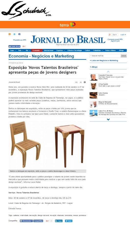 NOVOS TALENTOS BRASILEIROS no site do JORNAL DO BRASIL em 17 de outubro de 2016