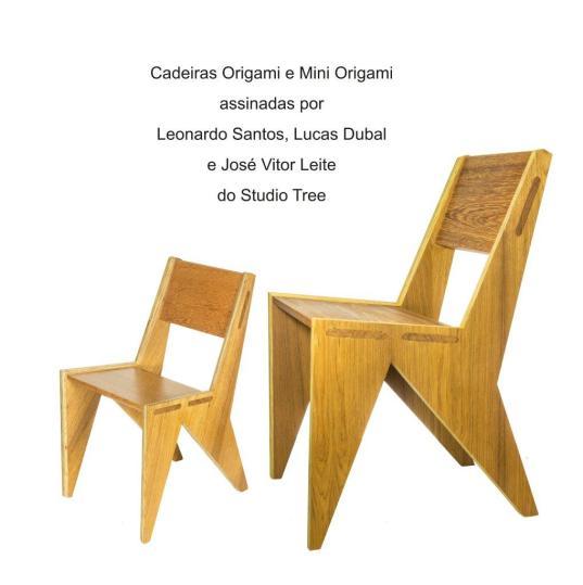 Cadeira Origami e Mini Origami assinadas por Leonardo Santos, Lucas Dubal, José Vitor Leite do Studio Tree