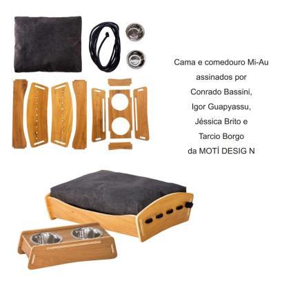 Cama e comedouro Mi-Au assinados por Conrado Bassini, Igor Guapyassu, Jéssica Brito e Tarcio Borgo, da MOTÍ DESIGN