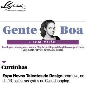 Exposição NOVOS TALENTOS BRASILEIROS na coluna Gente Boa do jornal O Globo em 10 de setembro de 2017