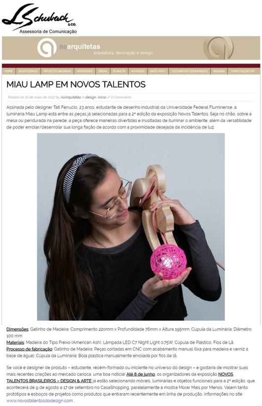 Exposição NOVOS TALENTOS BRASILEIROS no blog As Arquitetas em 21 de maio de 2017