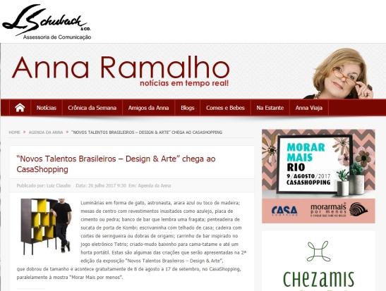 Exposição NOVOS TALENTOS BRASILEIROS no portal Anna Ramalho em 26 de julho de 2017