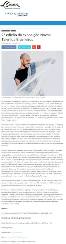 Exposição NOVOS TALENTOS BRASILEIROS no portal Manchete Online em 8 de agosto de 2017