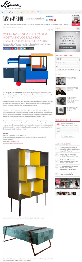 Exposição NOVOS TALENTOS BRASILEIROS no site da Casa e Jardim em 2 de agosto de 2017