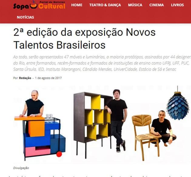 Exposição NOVOS TALENTOS BRASILEIROS no site Sopa Cultual em 1º de agosto de 2017