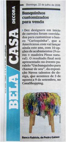 NOVOS TALENTOS BRASILEIROS no caderno BELA CASA do jornal EXTRA de 22 de julho de 2018