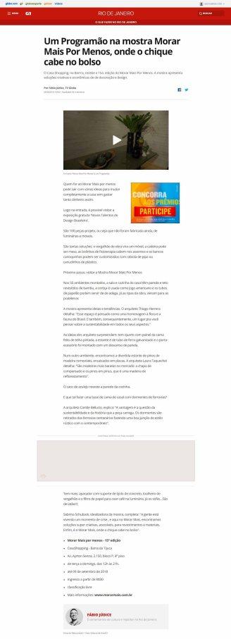 NOVOS TALENTOS BRASILEIROS no G1 em 25 de agosto de 2018