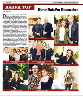 NOVOS TALENTOS BRASILEIROS no Jornal da Barra de 9 a 15 de agosto de 2018