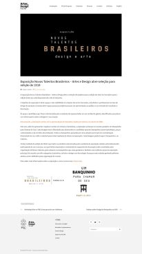 NOVOS TALENTOS BRASILEIROS no portal do Departamento de Design da PUC-Rio em 5 de abril de 2018