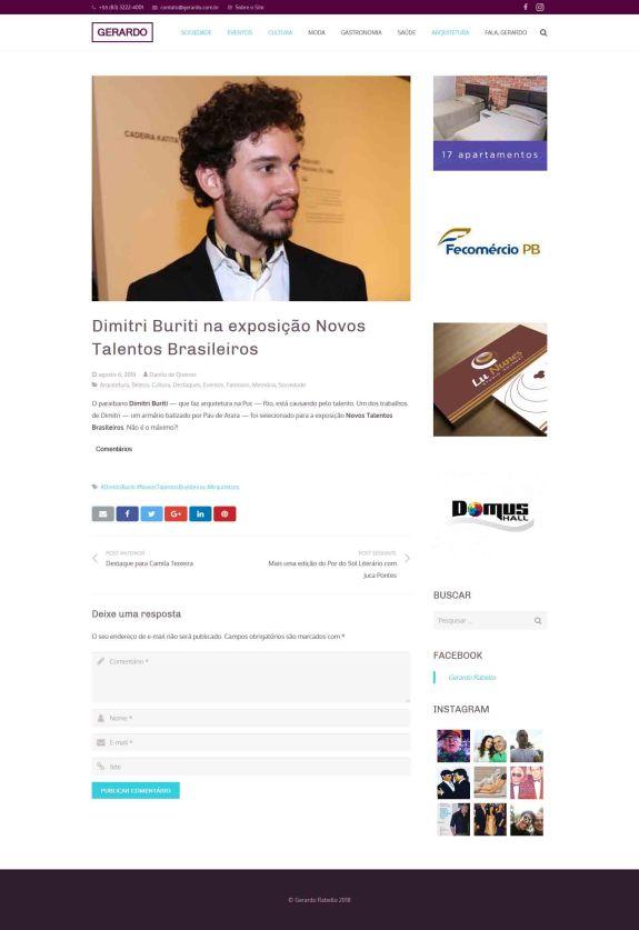 NOVOS TALENTOS BRASILEIROS no portal do Gerardo Rabello em 6 de agosto de 2018