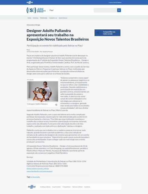 NOVOS TALENTOS BRASILEIROS no site da Agência Sebrae de Notícias do Piauí em 19 de julho de 2018