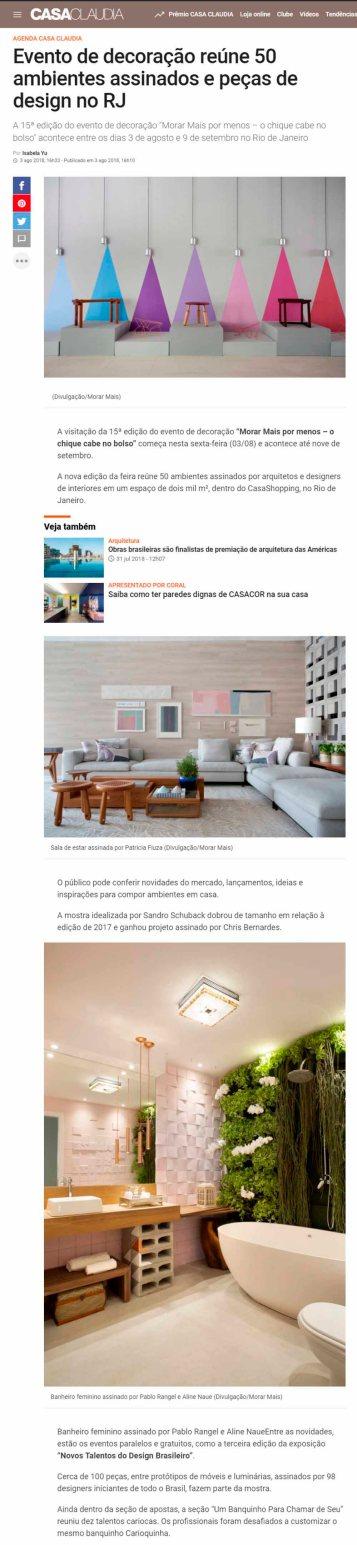 NOVOS TALENTOS BRASILEIROS no site da revista CASA CLAUDIA em 3 de agosto de 2018